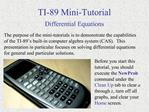 TI-89 Mini-Tutorial