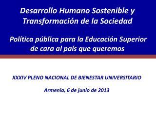 XXXIV PLENO NACIONAL DE BIENESTAR UNIVERSITARIO Armenia, 6 de junio de 2013