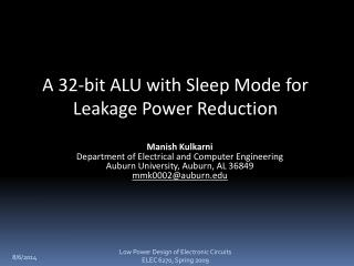 A 32-bit ALU with Sleep Mode for Leakage Power Reduction