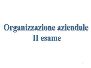 Organizzazione aziendale  II esame