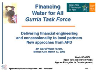 Financing  Water for All Gurria Task Force