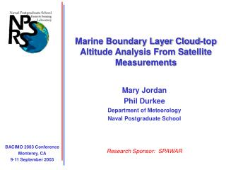 Marine Boundary Layer Cloud-top Altitude Analysis From Satellite Measurements