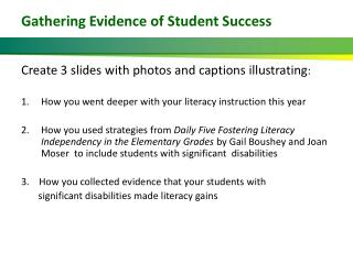 Gathering Evidence of Student Success