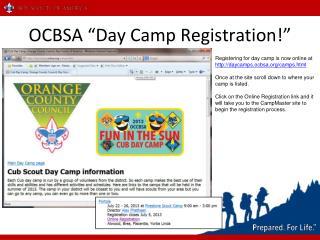 """OCBSA """"Day Camp Registration!"""""""