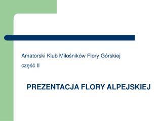 Amatorski Klub Mi łośników Flory Górskiej część II PREZENTACJA FLORY ALPEJSKIEJ