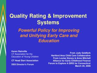 Quality Rating  Improvement Systems