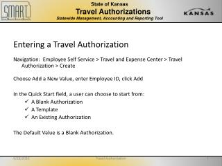 State of Kansas                 Travel Authorizations