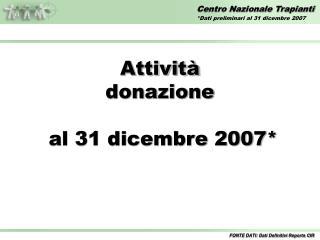 Attività donazione  al 31 dicembre 2007*