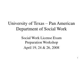 University of Texas – Pan American Department of Social Work