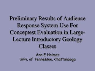 Ann E Holmes Univ. of Tennessee, Chattanooga