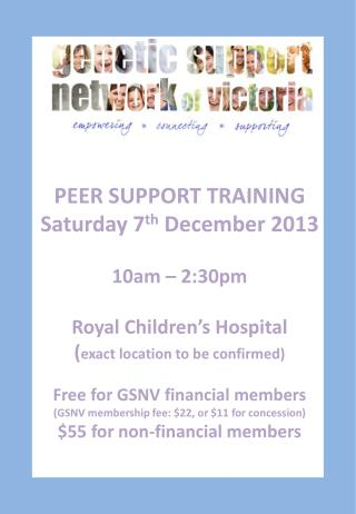 PEER SUPPORT TRAINING Saturday 7 th  December 2013