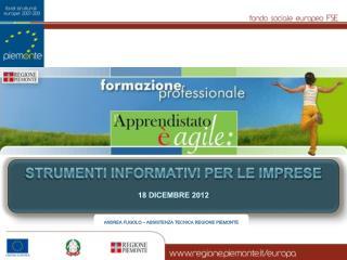 strumenti informativi per le imprese 18 dicembre  2012