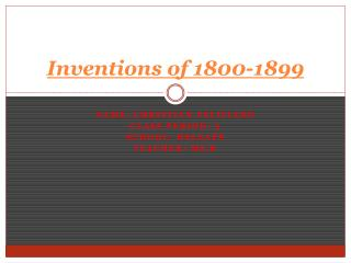 Inventions of 1800-1899