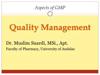 Aspects of GMP