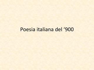 Poesia italiana del '900