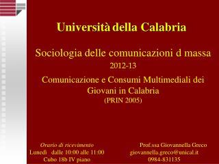 Sociologia delle comunicazioni d massa 2012-13