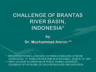 CHALLENGE OF BRANTAS RIVER BASIN, INDONESIA*