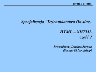 Technologia stron w HTML5