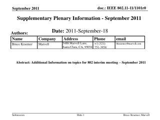 Supplementary Plenary Information - September 2011
