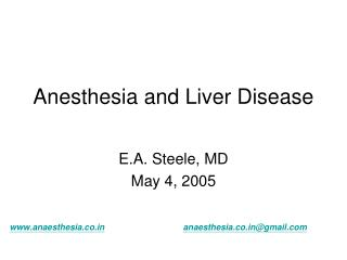 Anesthesia and Liver Disease