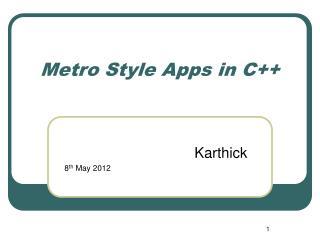 Metro Style Apps in C++