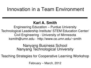 Innovation in a Team Environment