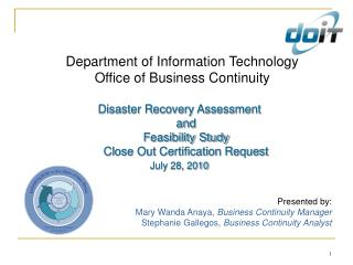 Department of Information Technology Office of Business Continuity