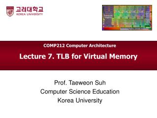Lecture 7. TLB for Virtual Memory