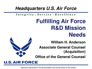Fulfilling Air Force R&D Mission Needs