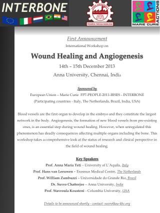 First Announcement  International Workshop on Wound Healing and Angiogenesis