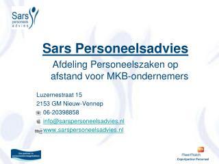 Sars Personeelsadvies Afdeling Personeelszaken op afstand voor MKB-ondernemers Luzernestraat 15