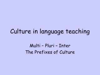 Culture in language teaching