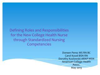 Doreen Perez MS RN BC Carol Kozel BSN RN Dorothy Kozlowski ARNP MSN American College Health Assoc.