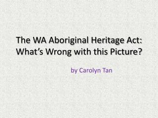 The WA Aboriginal Heritage Act: What's Wrong with this Picture?