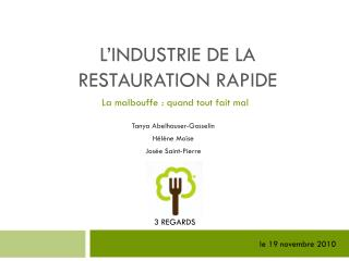 L'industrie de la restauration rapide