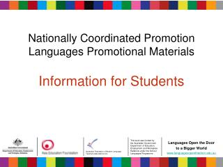 Nationally Coordinated Promotion Languages Promotional Materials