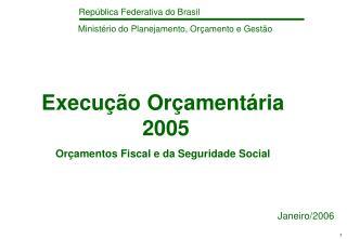 Execução Orçamentária  2005  Orçamentos Fiscal e da Seguridade Social