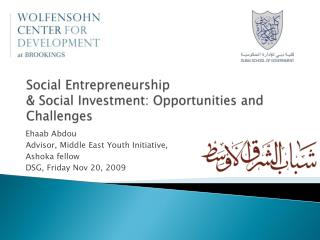 Social Entrepreneurship  & Social Investment: Opportunities and Challenges