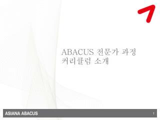 ABACUS  전문가 과정                   커리큘럼 소개