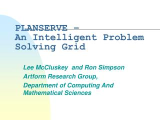 PLANSERVE – An Intelligent Problem Solving Grid