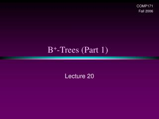 B + -Trees (Part 1)