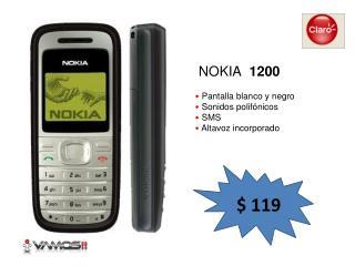 Pantalla blanco y negro Sonidos polifónicos SMS Altavoz incorporado