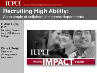 Recruiting High Ability: An example of collaboration across departments