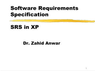 Software Requirements Specification SRS in XP