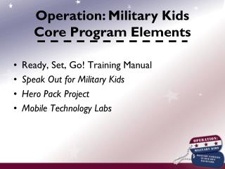 Ready, Set, Go! Training Manual  Speak Out for Military Kids Hero Pack Project