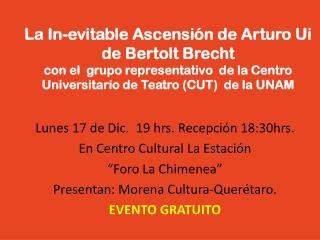 """Lunes 17 de Dic.  19 hrs. Recepción 18:30hrs. En Centro Cultural La Estación """"Foro La Chimenea"""""""