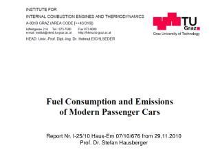 Report Nr. I-25/10 Haus-Em 07/10/676 from 29.11.2010 Prof. Dr. Stefan Hausberger