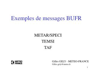 Exemples de messages BUFR