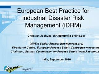 European Best Practice for industrial Disaster Risk Management (iDRM)