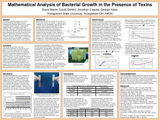 Mathematical Analysis of Bacterial Growth in the Presence of Toxins David Martin, David Gohlke, Jonathan Caguiat, George